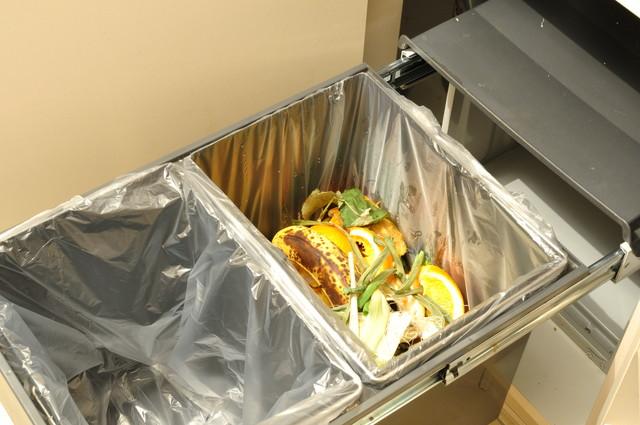 生ゴミが入ったゴミ箱