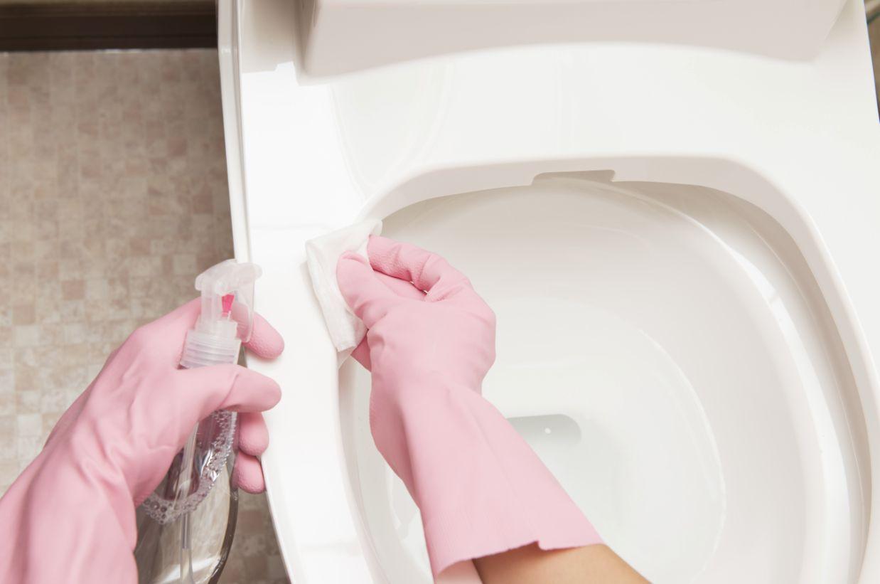 便器を掃除する手、ピンクのゴム手袋