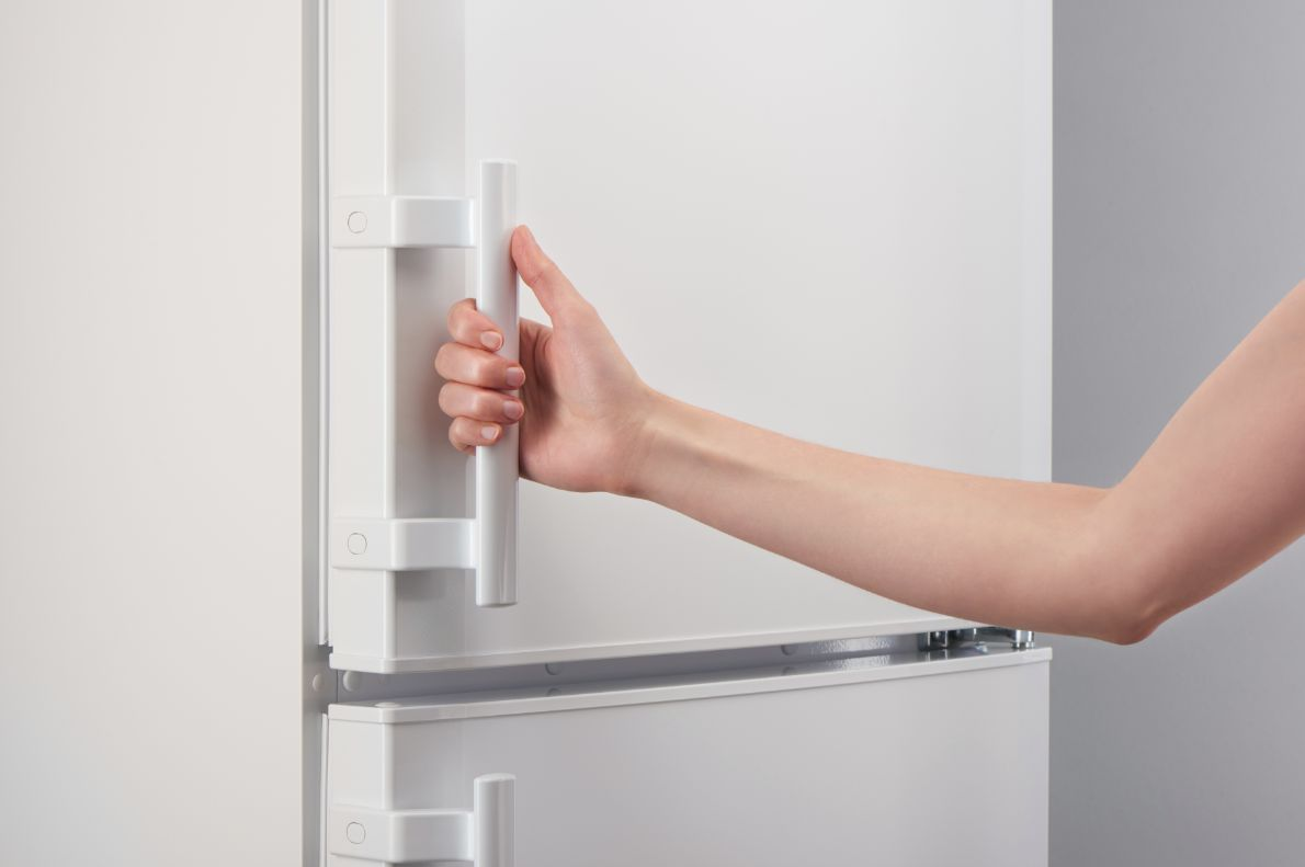 冷蔵庫のドアノブと手