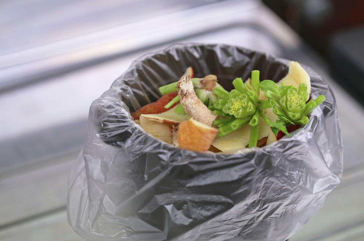 黒いゴミ箱に入った生ゴミ