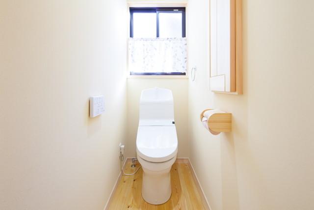 窓にカフェカーテンのついたトイレ