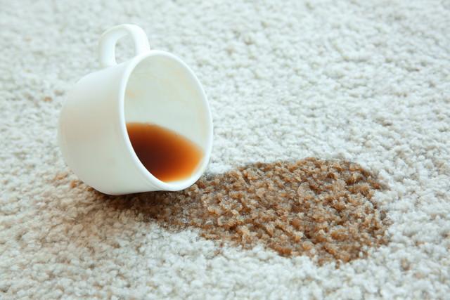 コーヒーをカーペットにぶちまけた現場