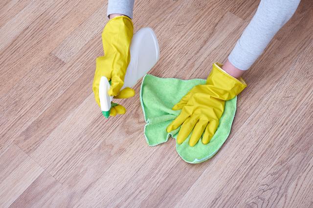 スプレーと雑巾でフローリング掃除