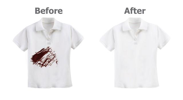 シミが付いて服と染み抜きした服の比較