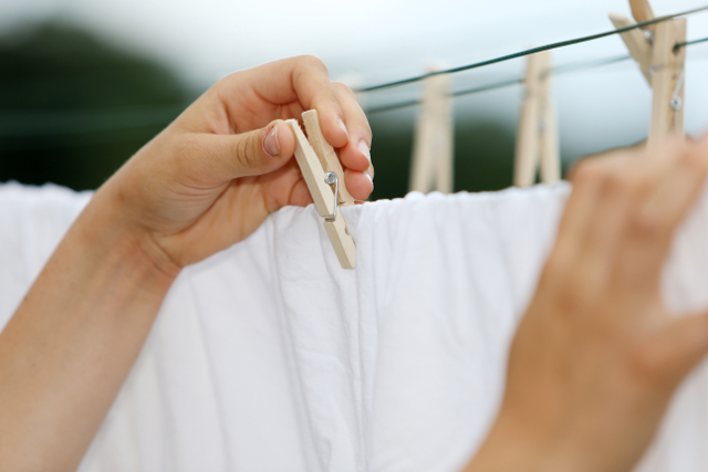 シーツを干す女性の手,洗濯ばさみ