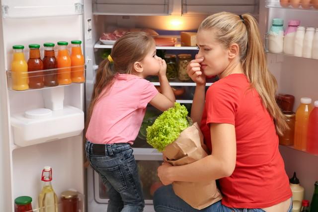 冷蔵庫の臭いを気にする親子