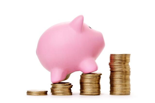 お金を登る豚の貯金箱