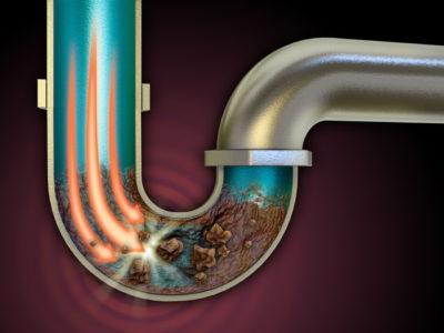 排水溝の汚れを溶かすイメージ