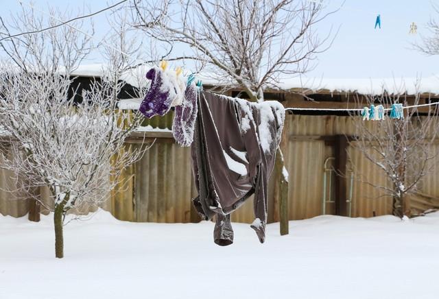 雪の積もった洗濯