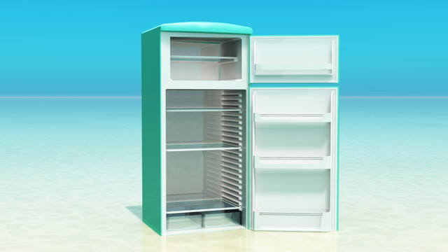 浜辺の冷蔵庫