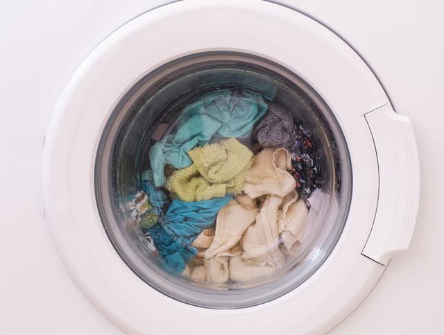 衣服が入っている洗濯機