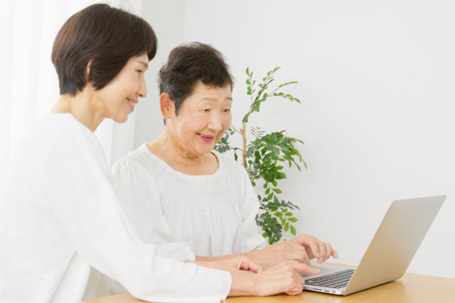 年配者のパソコンの勉強