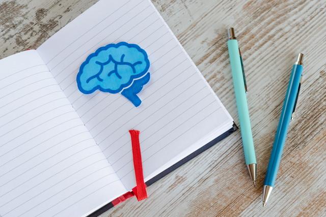 日記帳と脳のイラスト