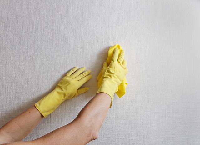 部屋の壁の掃除