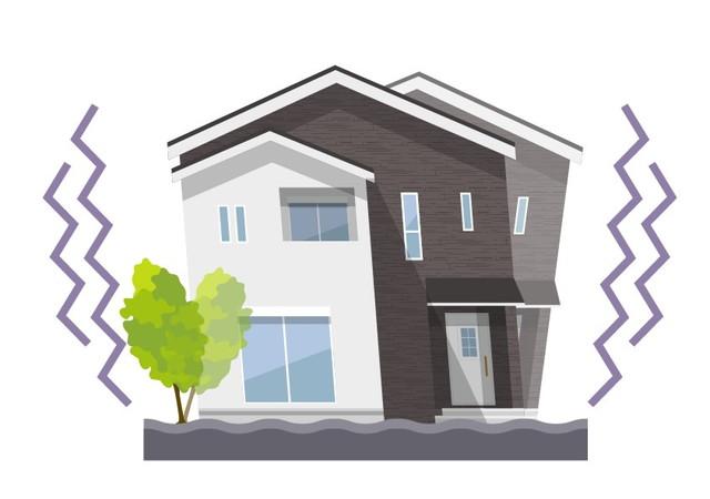地震で揺れる家