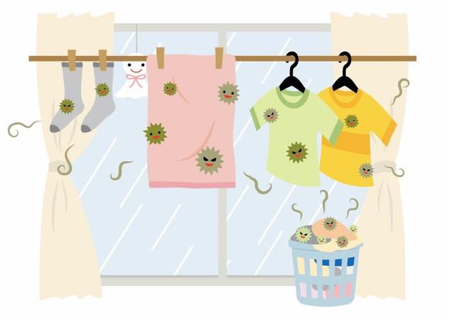 生乾きの洗濯物