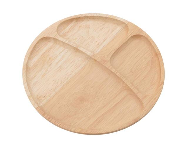 不二貿易 木製 ラウンド ディッシュ (仕切り付)