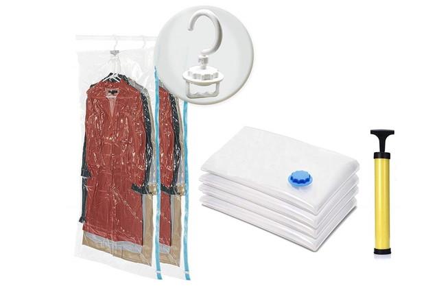 ふとん圧縮袋 衣類圧縮袋 布団収納袋 6枚入 ( 2枚105x70cm吊るせる衣類圧縮袋、4枚80x60cm衣類圧縮袋 ) 旅行 手動ポンプ付き 防塵防湿 再利用可能 真空圧縮パック ダニ、カビ対策