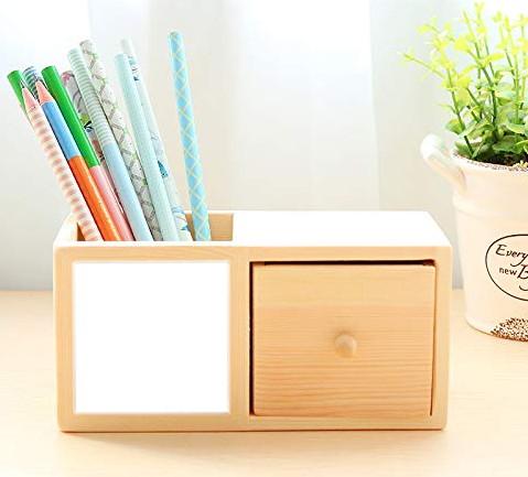TIMESETL ペン立て 木製 デスクオーガナイザー 卓上収納