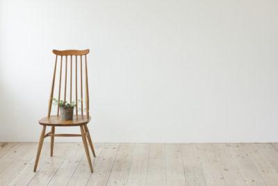 椅子に植物が乗っている