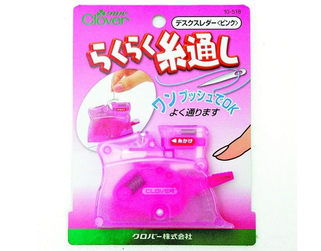 Clover デスクスレダー 卓上型糸通し器 ピンク 10-518