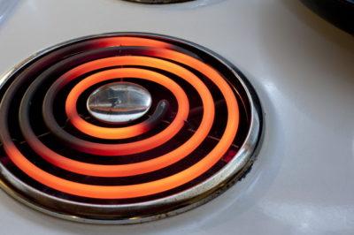 加熱された電気コンロ