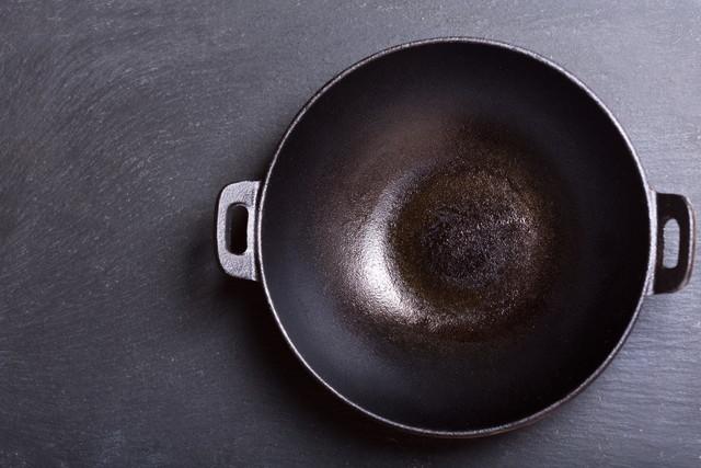 右寄りに撮られた中華鍋