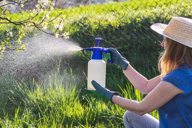 除草剤をまく女性