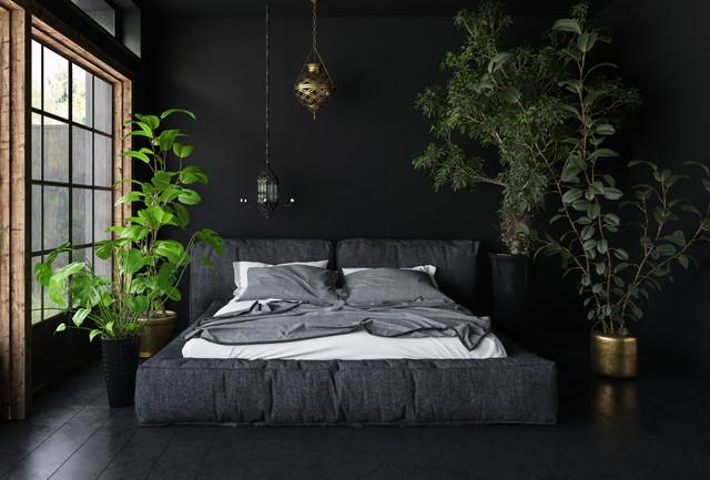 寝室と観葉植物
