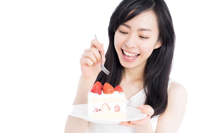 ショートケーキ食べる女性