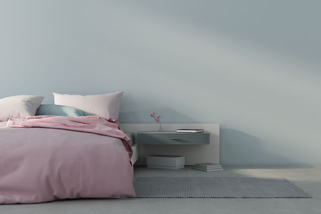 Bedroom interior with pink bed. 3d render
