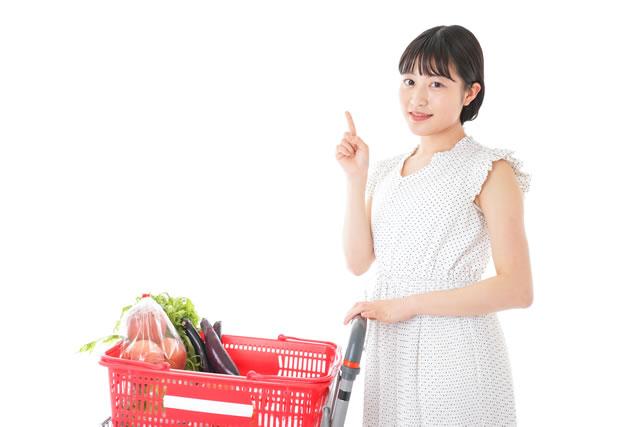 買い物カゴと女性