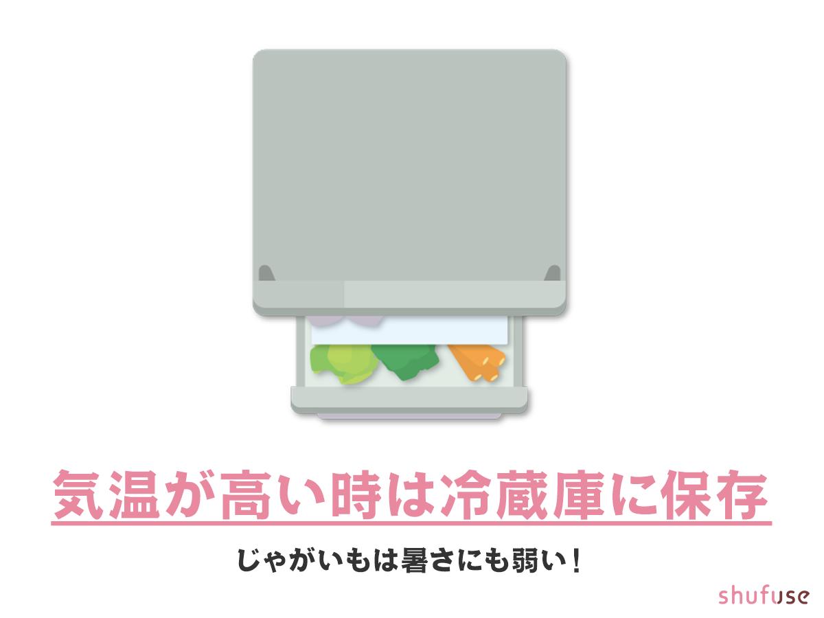 夏場のじゃがいもは冷蔵庫に保存する