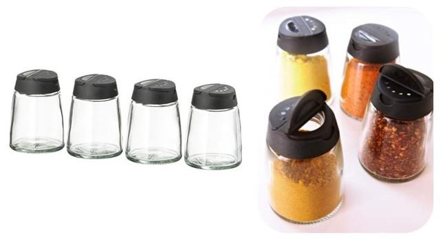 IKEA 365+ IHARDIG スパイス瓶 ガラス ブラック 4 ピース