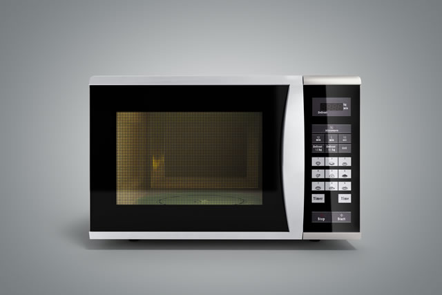 Microwave stove on grey gradient background 3d render