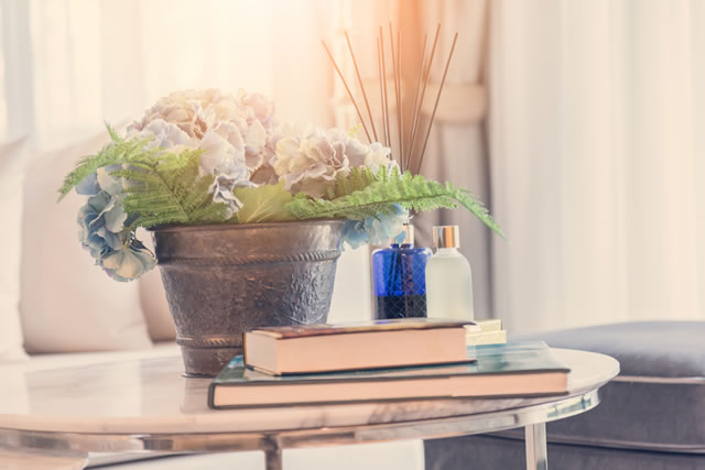 テーブルの上に植物と芳香剤と本