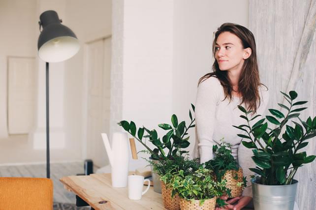 植物に光をあてる女性