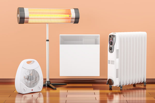 Heating devices. Convection, fan, oil-filled and infrared heaters, 3D rendering