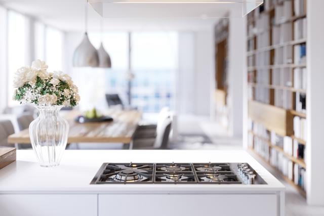 キッチンの様子、ガスコンロの横に花瓶と花
