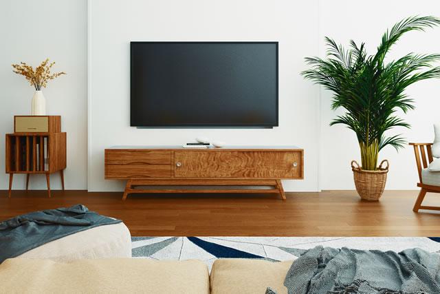新築の部屋に飾られたテレビ