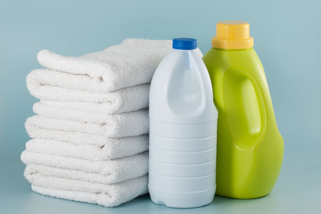 laundry detergent and bleach bottles