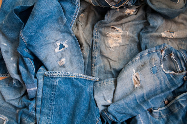 Old jeans vintage levis Big E blue abstract background