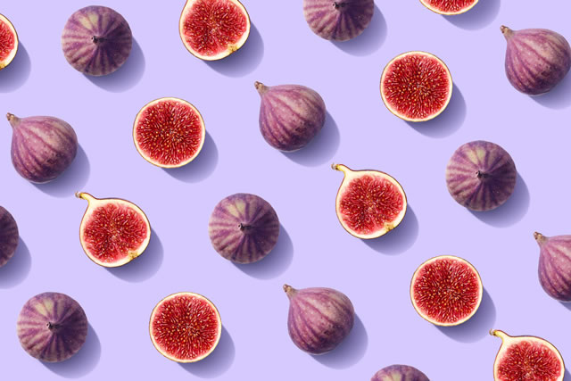Colorful fruit pattern of fresh figs