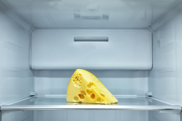Piece of cheese on shelf in refrigerator