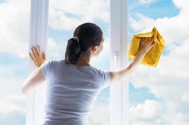 ガラス拭きをする主婦