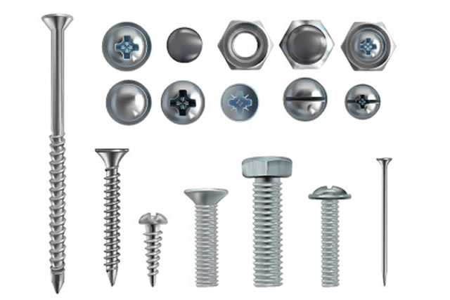 Vector 3d realistic illustration of stainless steel bolts, nails and screws on white background. Top and side view of industrial chrome hardware, different heads with nuts and washer