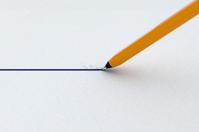 ボールペンで書いた線
