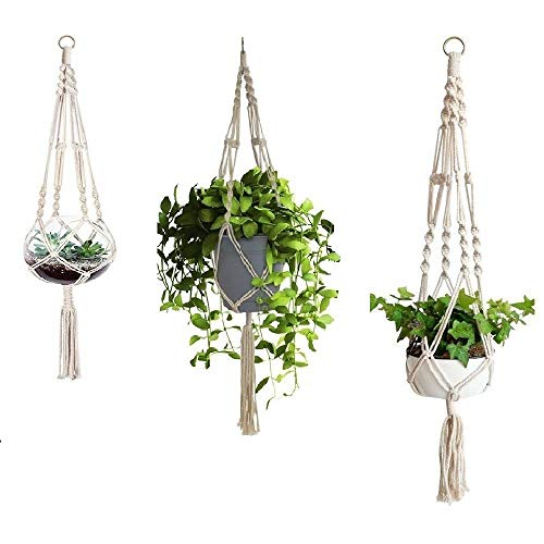 3つの植木鉢、吊り下げられた綿織り鉢植えの植木鉢、綿の植木鉢