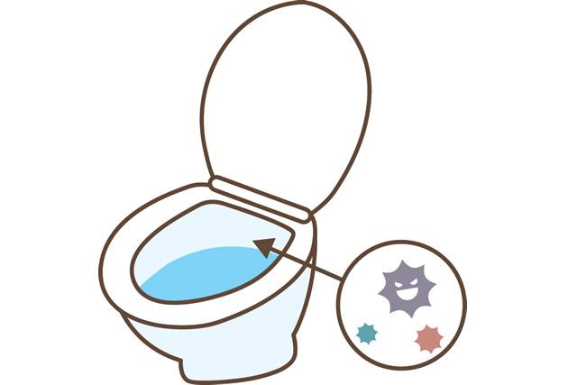 トイレに菌が潜んでいるイラスト