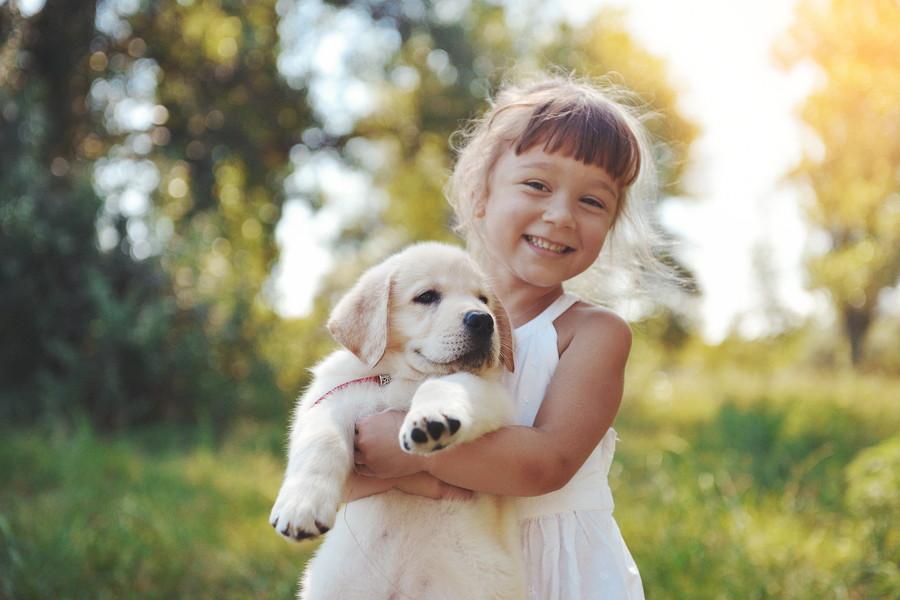 犬を抱える少女